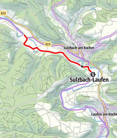 Karte / Kocher-Jagst-Radweg_Umleitung Sulzbach-Laufen