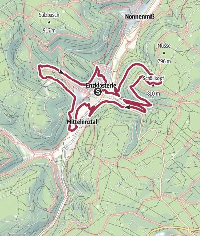 Karte / Heidelbeerweg Enzklösterle