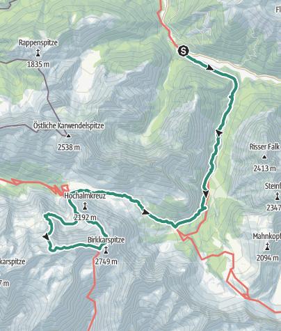 Karte / Brendelsteig, Ödkarspitzen und Birkkarspitze, 2749 m
