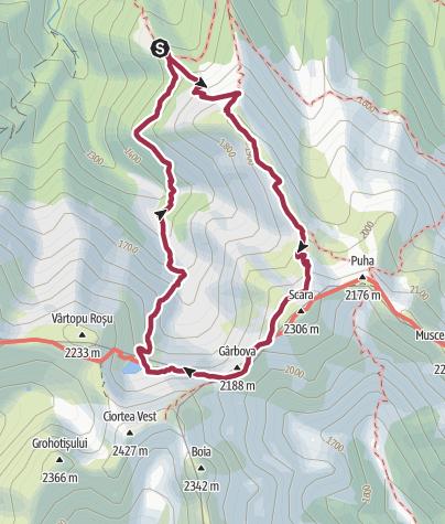 Karte / Lacul Avrig via Șaua Gârbovei