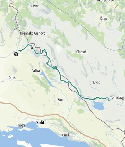 Map / Put Oluje: Dinara - Troglav - Kamešnica (Via Dinarica)