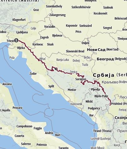 Map / MY Via Dinarica Green Trail from Predjama to Sarajevo