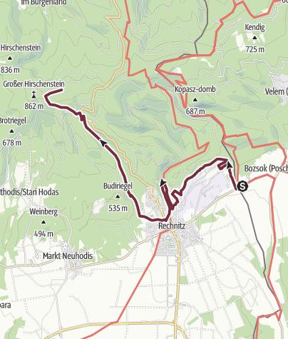 """Map / """"alpannonia""""-Zubringer Rechnitz/Grenze - Hirschenstein"""