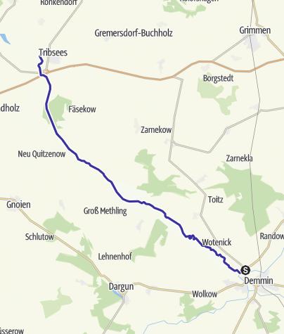 Karte / Zwischen Mecklenburg und Vorpommern auf der Trebel