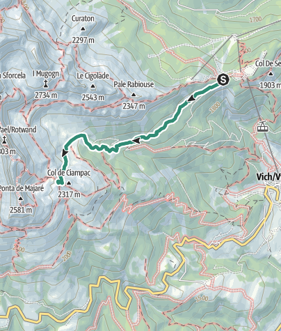 Map /  Rifugio Roda di Vael - from Ciampedie