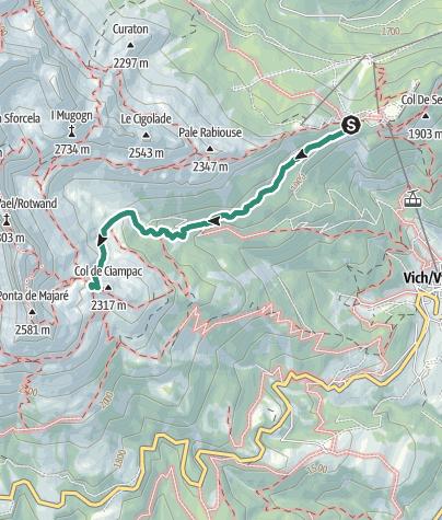 Map /  Rifugio Roda di Vael - from Ciampedie