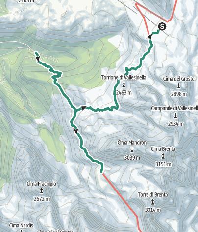 Cartina / Traversata Passo Grostè - Rif. Tuckett – Rif. Brentei – Vallesinella