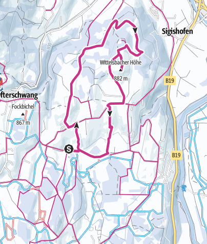Map / Winter hike to Wittelsbacher Höhe near Ofterschwang