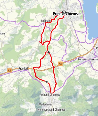 Karte / kulinarischer Radweg – von Prien am Chiemsee nach Aschau und zurück