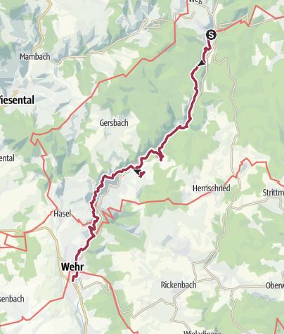 Karte / Schluchtensteig Etappe 6 von Todtmoos nach Wehr