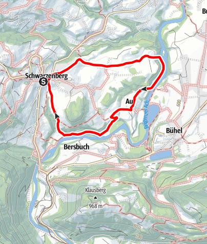 Karte / Schwarzenberg   Achauen Rundweg
