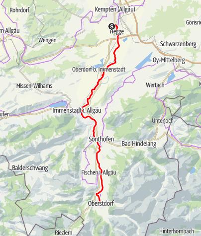 Karte / Idylle am Fluss: unterwegs auf dem Illerradweg nach Oberstdorf