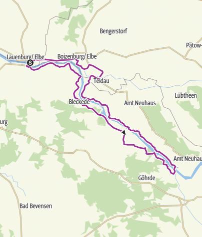 Karte / Die lange Elb-Ufertour