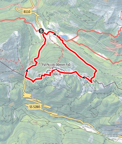 Karte / Kleiner Pal mit Freilichtmuseum am Gipfel