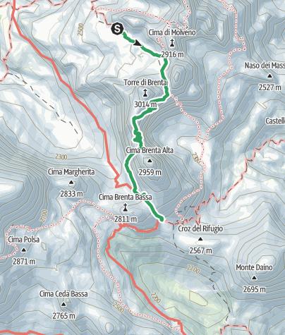Cartina / Via Ferrata delle Bocchette Centrali, Dolomiti di Brenta