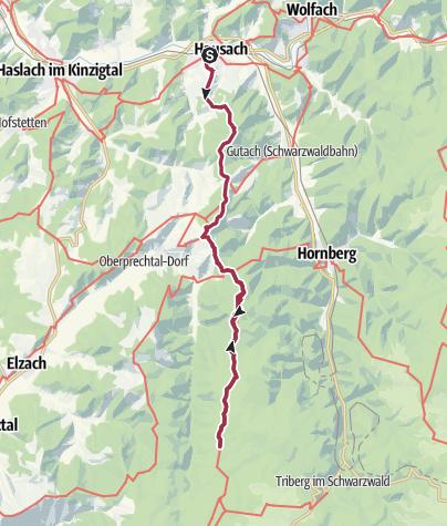 Karte / Westweg 7. Etappe: Hausach - Wilhelmshöhe (Schonach)
