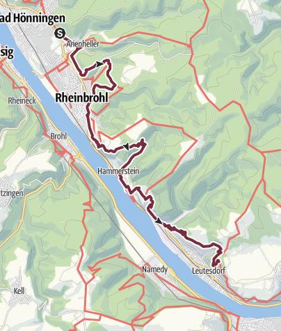 Karte / Rheinsteig 05. Etappe Bad Hönningen - Leutesdorf (Nord-Süd)