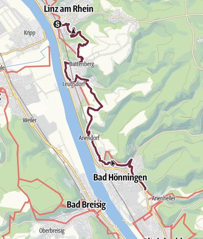 Karte / Rheinsteig 04. Etappe Linz - Bad Hönningen (Nord-Süd)