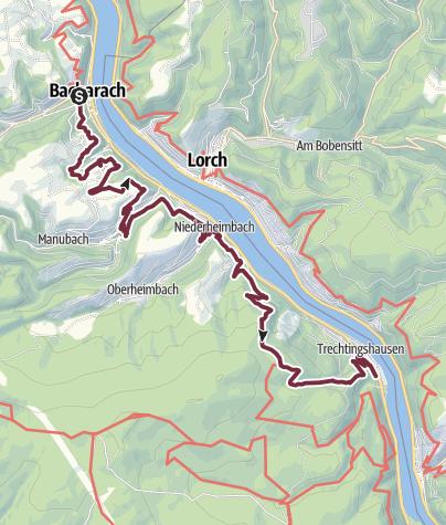 Karte / RheinBurgenWeg 12. Etappe Bacharach - Trechtingshausen (Nord-Süd) - Derzeit nur zwischen Bacharach und Niederheimbach begehbar.