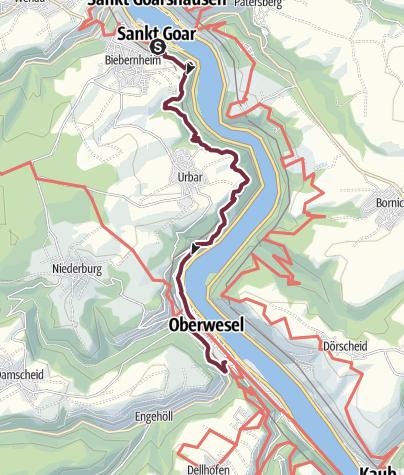 Karte / RheinBurgenWeg 10. Etappe St. Goar - Oberwesel (Nord-Süd)