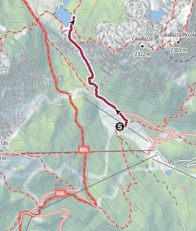 Cartina / Laghi del Colbricon da malga Ces
