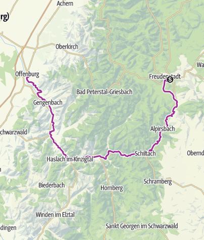 Karte / Kinzigtal-Radweg von Freudenstadt bis Offenburg