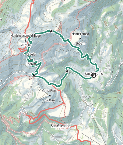 Map / Trekking to Monte Altissimo – Rifugio Damiano Chiesa