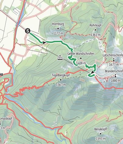 Karte /  Gelbe Wand Steig (leichter Klettersteig  A ) Tegelberg