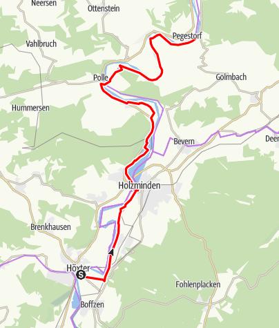 Karte / Weser-Radweg, 03.Etappe: Von Höxter bis zur Rühler Schweiz - Alternativroute