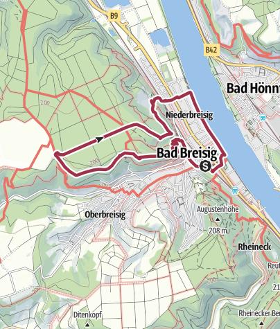 "Map / ""Bad Breisiger Keltenwanderweg"", Wanderweg 2, Rundweg Bad Breisig"