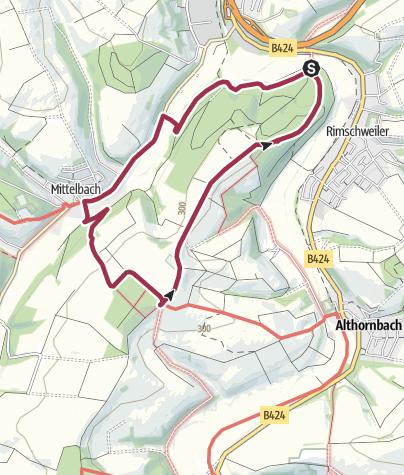 "Karte / Zweibrücken Wanderweg 22 ""Birkhausen - Mittelbach"""