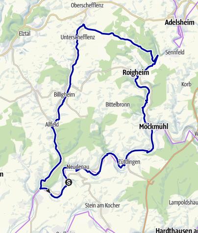 Karte / KJ4 3-Bäche-Tour - Radweg im Jagsttal