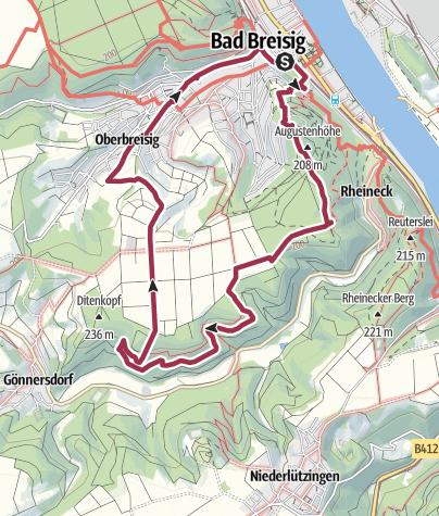 """Map / """"Lieshöhenweg"""" Wanderweg 5, Rundweg Bad Breisig"""