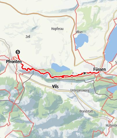 Karte / Maximiliansweg (Wandertrilogie Allgäu, E4, Via Alpina Violette Route): Zirmgrat-Etappe