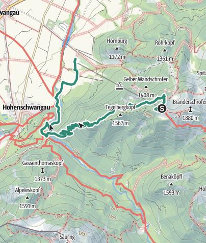 Karte / Schwangau - Marienbrücke - Gratweg - Tegelberg