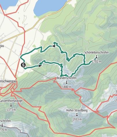 Karte / Vom Tegelberg zum Schönleitenschrofen (Drei-Gipfel-Tour)