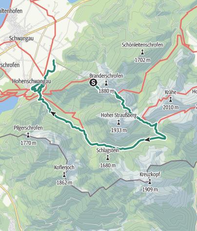 Karte / Wanderung vom Tegelberg zur Jägerhütte über Bleckenau zurück ins Tal