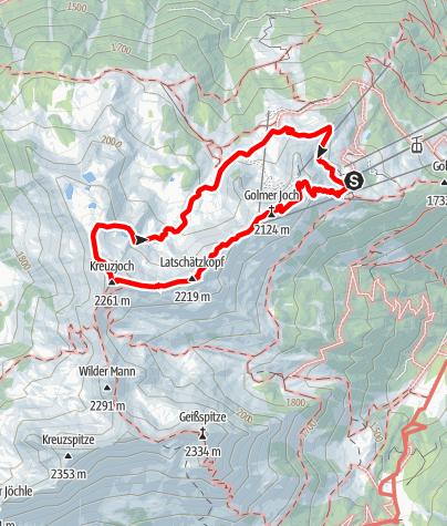 Karte / Golm-Rundwanderweg im Rätikon (Golmer Seenweg)