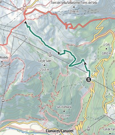 Cartina / Lupo Bianco – Rifugio Valentini al Passo Sella