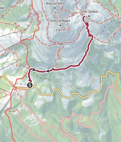 Cartina / Rifugio Roda di Vael da Passo Carezza