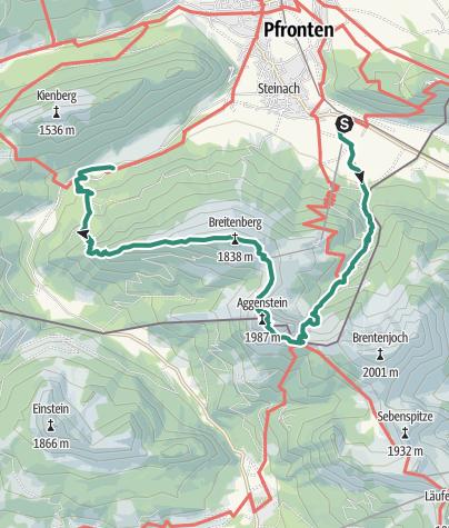 Karte /  Aggenstein (1986 m) und Breitenberg (1838 m)