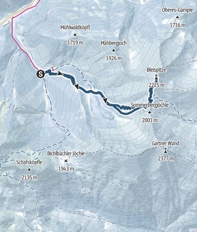 Karte / Pleisspitze / Bleispitze (2225 m) von Bichlbächle