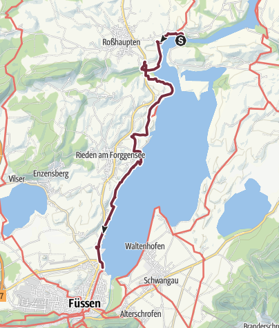 Karte / Via Claudia Augusta: Forggensee-Etappe