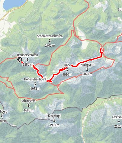 Karte / Via Alpina Violette Route (Wandertrilogie Allgäu): Verkürzte Etappe Tegelberg - Kenzenhütte