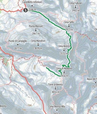 Cartina / Via Ferrata delle Bocchette Alte, Dolomiti di Brenta