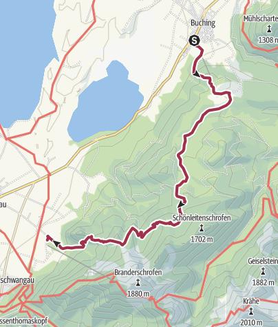 Karte / Tour Buching - Naturschutzgebiet Ammergebirge - Schwangau