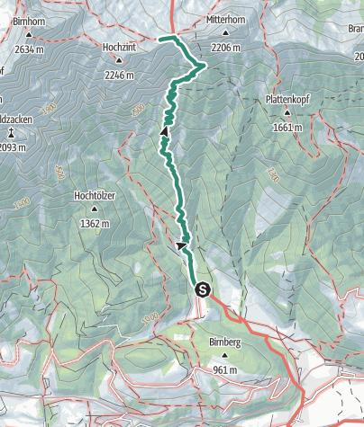 Karte / Passauerhütte mit verschiedenen Gipfelmöglichkeiten