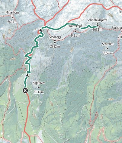 Karte / über das Riemannhaus zum Schönfeldspitz