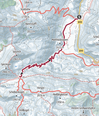 Karte / Vordere Gnadenalm - Südwienerhütte