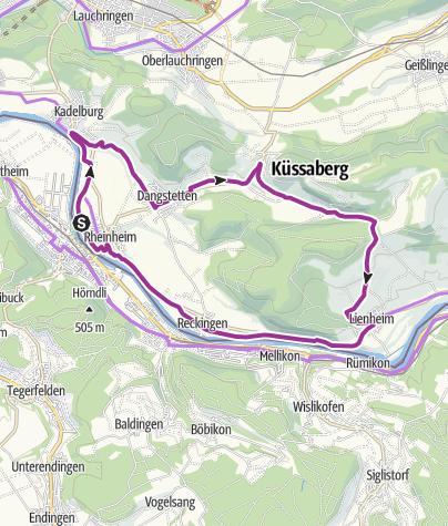 Karte / RouteWT 4 - Küssaburg Tour durch Küssaberg